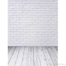 2018 white brick wall photo studio background digital printed kids children baby newborn photography backdrops wood floor from backdrop
