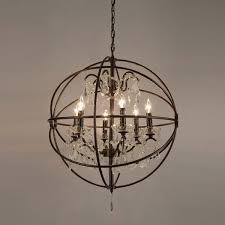 foucault s orb crystal iron 6 light chandelier free today com 14428185