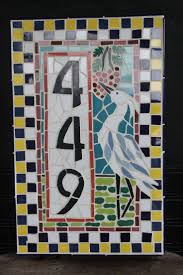 Mosaic house numbers by Jan Dineen Texas Mosaic Artist
