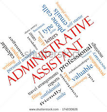 administrative assistant word cloud concept angled with great terms such as professional secretary executive administrative assistant