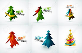Set Of Christmas Tree Modern Paper Geometric Designs Simple
