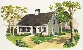 Small Colonial Cape Cod House Plans  Home Design HW2162  17400Cape Cod Home Plans