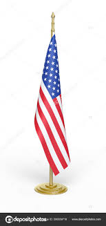 Render American Flag Office Isolated White Clipping Path Stock