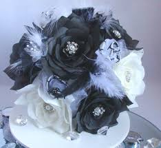 Paper Flower Bouquet For Wedding White Bridal Bouquet Black Wedding Bouquet Paper Flower