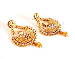 South Indian Traditional Gold Earrings Designs Indian Designer Traditional Wear South Indian One Gram Gold