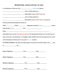 Free Forms Bill Of Sale Free Recreational Vehicle Rv Bill Of Sale Forms Templates