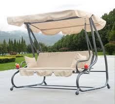 Sentinel FoxHunter Beige Garden Metal Swing Hammock 3 Seater Chair Bed  Patio Outdoor SC05