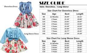 4 Year Girl Dress Size Chart Rysly Little Girls Casual Sleeveless Denim Dress Floral Princess Dress For Kids