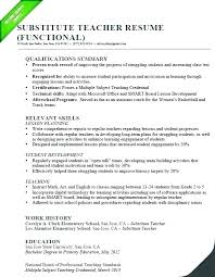 Teaching Resume Templates Awesome Professional Resume Template Functional Teacher Sample Substitute