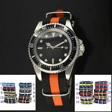 <b>42mm Parnis black dial</b> multicoloured Nylon Strap Automatic men's ...