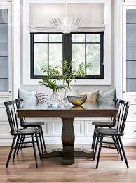 the eat in area exemplifies the kitchen s family friendly functionality the cushion on the built in banquette is covered with moisture wicking fabric