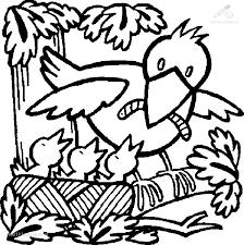 Kleurplaat Seizoen Lente Vogel Voert Kleintjes