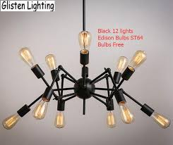 spider chandelier vintage wrought iron pendant lamp loft american style lighting fixture edison bulbs for free v026 copper pendant light kitchen island