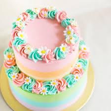 2 Floor Cake Design Pastel Rainbow Two Tier Cake With Fondant Daisies