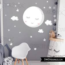 stars white moon baby wall decal