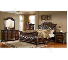 italian bedroom furniture sets. Tufted Leather Cherry Walnut Sleigh Queen Bed Bedroom Set Or California King Italian Furniture Sets