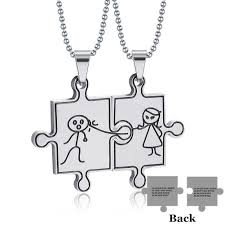 Amazoncom Sunling Stainless Steel Cute Couple Figures Necklace Set