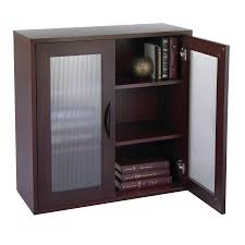 Glass Door Cabinet Storage Bookcase With Glass Doors 30 In High Mahogany Media