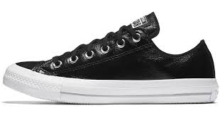converse chuck taylor all star crinkled patent leather low top women s shoe in black lyst