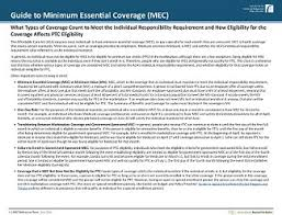 Types Of Coverage Exemptions Chart Minimum Essential Coverage Reference Chart Beyond The Basics