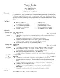 Beauty Artist Resume Sample No Experience Resumes Livecareer