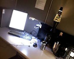cubicle lighting. lava lamp and metallic task lighting for hi tech styled cubicle f