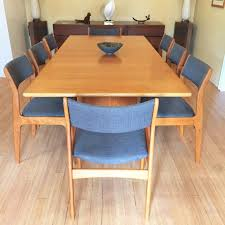 danish modern dining set with 8 newly upholstered d scan chairs