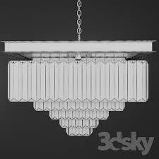 3d models ceiling light chandelier rh 1920s odeon clear glass fringe chandelier 5 square