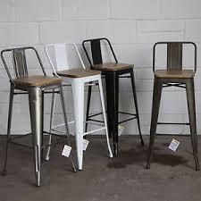 Image is loading Set-of-4-Metal-Industrial-Bar-Stool-Breakfast-