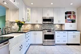 kitchen design white cabinets black countertops. Unique White Kitchen Backsplash White Cabinets Black Countertop Modren And Bookcase  Decorative Yellow Desk Lamp Ideas Countertops Cool With Design U