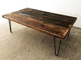 industrial reclaimed timber scaffold board coffee table on vintage retro hairpin legs