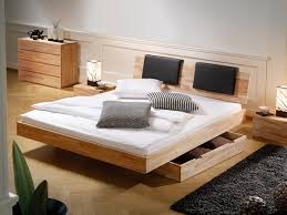 Full Size of Furniture Set, Captivating creamy wooden platform bed combine  with storage drawer white ...