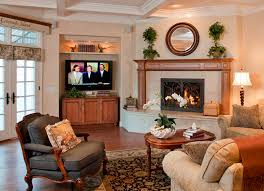 cool wooden fireplace decor for beautiful family room ideas with round mirror and sandy c wall color