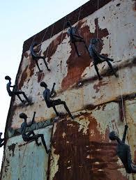 climbing man wall sculpture large wall decor