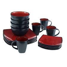 black dinnerware sets. Exellent Black Amazoncom  Gibson Elite 6122016RM Soho Lounge 16Piece Square Reactive  Glaze Dinnerware Set Red Sets In Black A