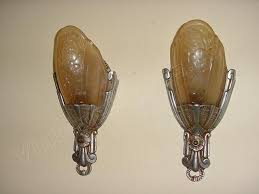 cheap vintage lighting. Pr. Vintage Lincoln Slip Shade Wall Lighting Sconces, Original Finish, Antique Light Fixtures. Cheap O