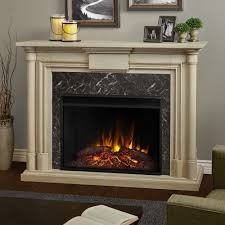 ventless electric fireplace in whitewash