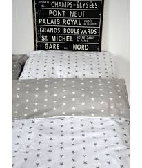 bed linen junior stars white stars grey