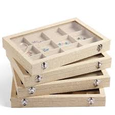 jewelry display box. Simple Display Large Linen Jewelry Box Earrings Necklaces Bracelets Ring Display  Tray Organizer Storage Stand Holder  Throughout E