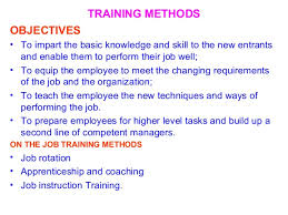 On Job Training Objectives Management Training Development