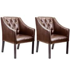 corliving antonio accent club chair in brown bonded leather set of 2