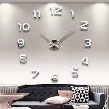 ... Clocks, Fancy Wall Clocks Oversized Wall Clock Silver Wall Clock In  Living Room With Black ...