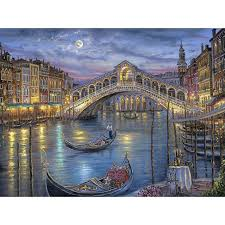 hot new 3d diy diamond painting venice town lake bridge landscape image scroll full drill rhinestones