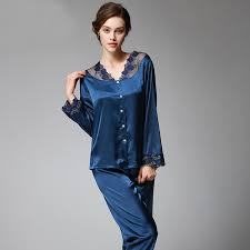 SSH037 Spring Autumn <b>Women</b> Satin <b>Silk</b> Pajama Set Sleepcoat ...