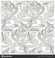 シームレスな波とヒトデ装飾的な白黒パターン株式ベクトル イラスト