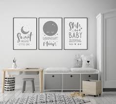 set of 3 sweet dreams goodnight moon baby nursery wall art prints grey white