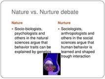 Nature and Nurture Debate Essay Marked by Teachers