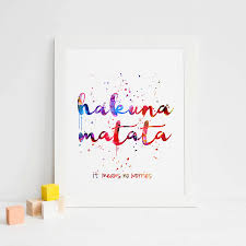 Us 56 The Lion King Watercolor Nursery Inspirational Kids Room Poster Hakuna Matata Art Print Motivational Quote Wall Art Unframed In Painting