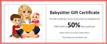 babysitting certificates open office free babysitter gift certificates a blog about