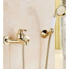 wall installation bathtub faucet with handheld shower zoom
